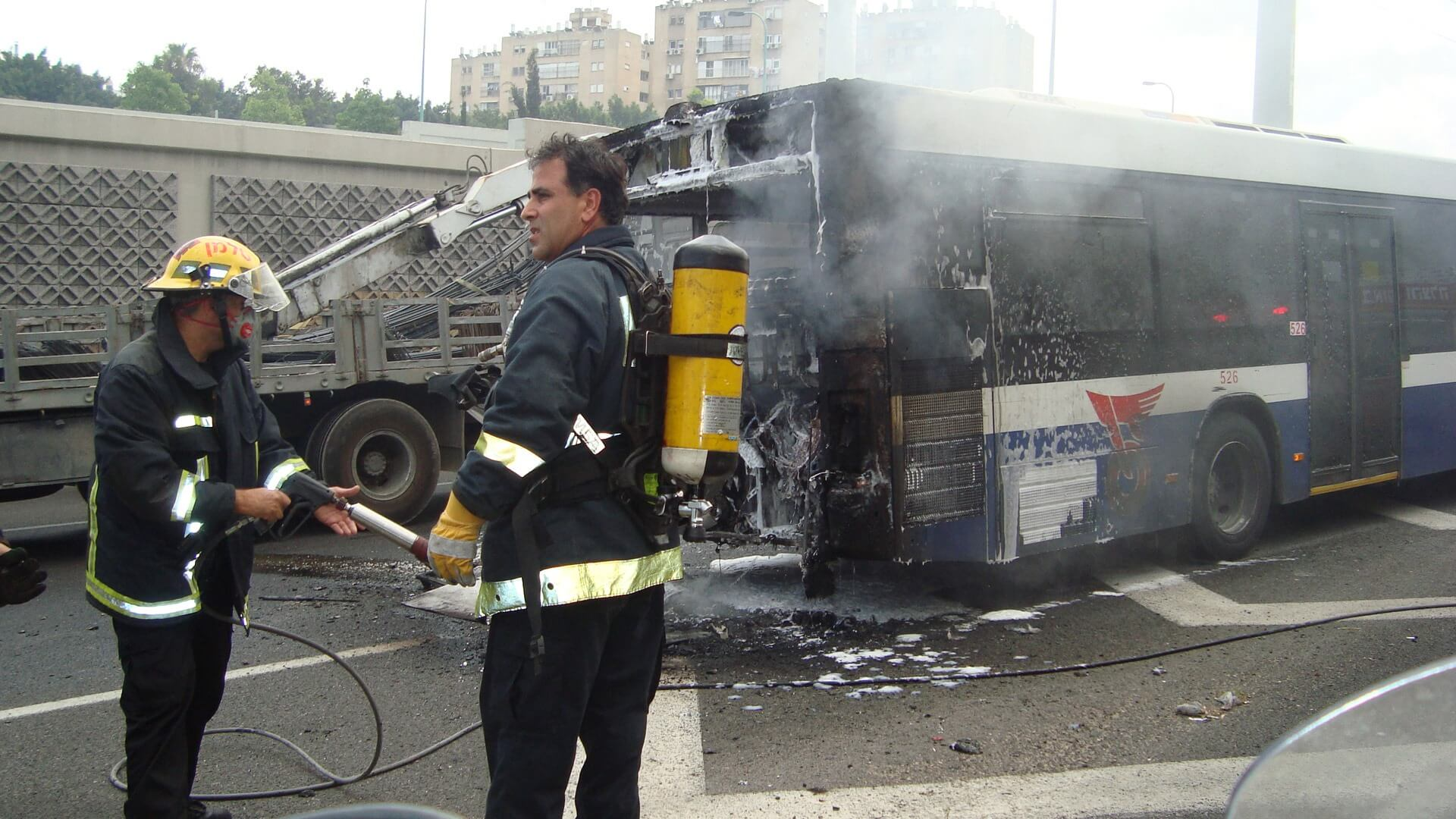 highway bus accident fire